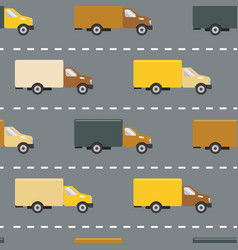 Seamless pattern with trucks on the road vector
