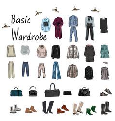 set about a basic wardrobe clothing model vector image