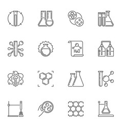 set chemistry concept icons in outline vector image