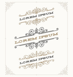 Set elegant vintage ornamental emblems vector