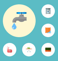 Set of hygiene icons flat style symbols with tap vector