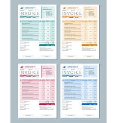 Set of Invoice Design Templates Gren Orange Red vector