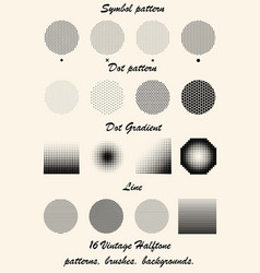 Set vintage halftone patterns brushes and vector