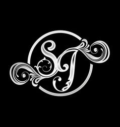 sg initials lettermark ornamental floral design vector image