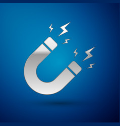 Silver magnet with lightning icon isolated on blue vector
