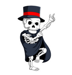 Skeleton wearing magic costume vector