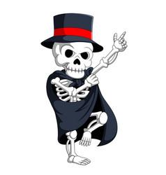 skeleton wearing magic costume vector image