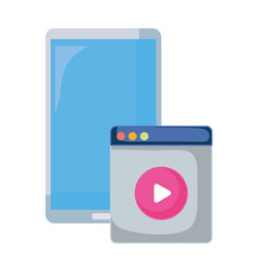 smartphone and video button media vector image