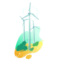 spinning wind turbines in the field with leaves vector image