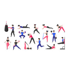 sport training cartoon male and female characters vector image