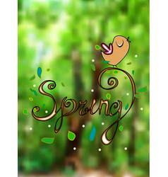 spring inscription with curls with different vector image