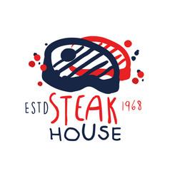 steak house logo template estd 1968 vintage label vector image