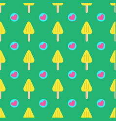 summer seamless ice cream pattern with hearts on vector image