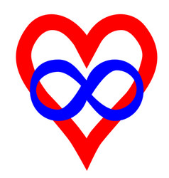 Symbol of polyamory heart and infinity sign vector