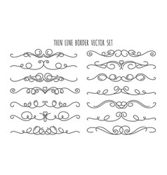 Thin line decoration dividers set vector