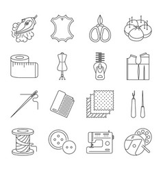 Thin lines sewing icons set vector