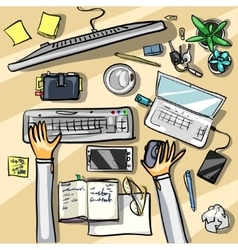 Top view background - office vector image