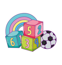 Toys cube blocks football ball cartoon vector
