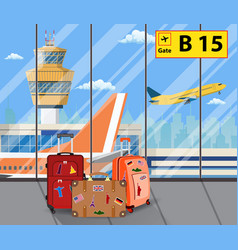 Travel suitcases inside of airport with a plane vector