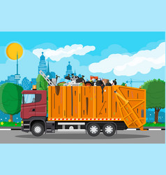 Truck for transportation garbage vector