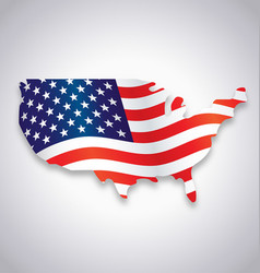 usa america flag flying in map symbol vector image