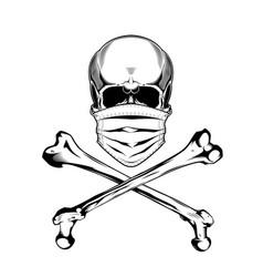 vintage monochrome skull in protective mask vector image