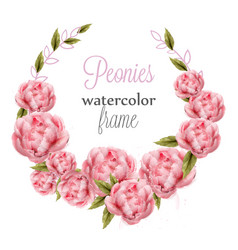 watercolor pink peonies wreath card vector image