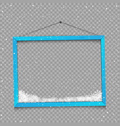 wooden blue frame with snow vector image