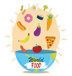 world food day falling vegetable fruit diet vector image