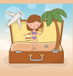 young girl in suitcase on beach scene vector image