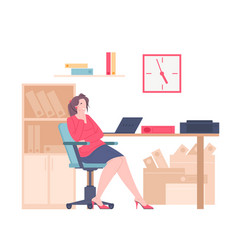 young thoughtful businesswoman in the office vector image