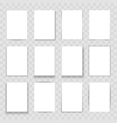 blank paper cards with different shadows isolated vector image