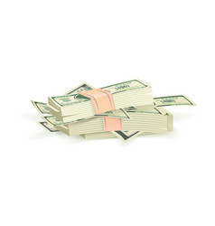bundle of green dollar bills vector image