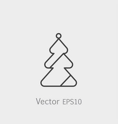christmas tree icon in flat style isolated on grey vector image