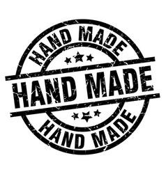 hand made round grunge black stamp vector image vector image