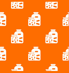 jars with pickled vegetables and jam pattern vector image