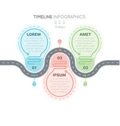 navigation map infographics 3 steps timeline vector image