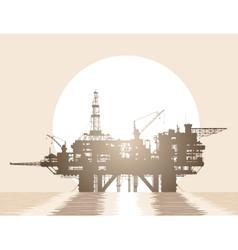 Sea oil rig Oil platform in the sea vector image
