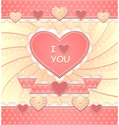 Valentines Card with hearts and scrapbooking eleme vector image