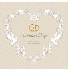 Wedding heart frame gold vector image