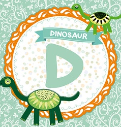 ABC animals D is dinosaur Childrens english vector image vector image