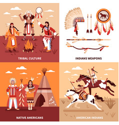American indians 2x2 design concept vector