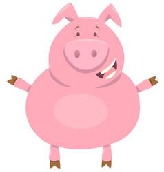 cute pig farm animal character vector image vector image