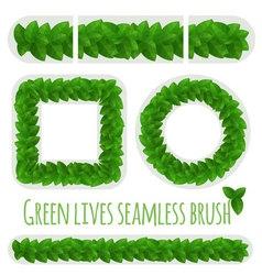 Green leaves fresh border pattern brush vector image