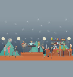 party club in flat style vector image