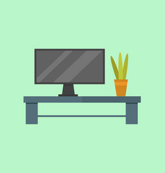 tv room table flat isolated vector image