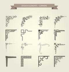 vintage corner vignettes set - frame border flouri vector image