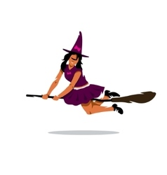 Witch on broomstick Cartoon vector image