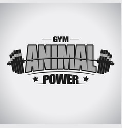 barbell sport t-shirt gym emblem vector image