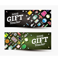 Gift voucher template with school supplies vector image